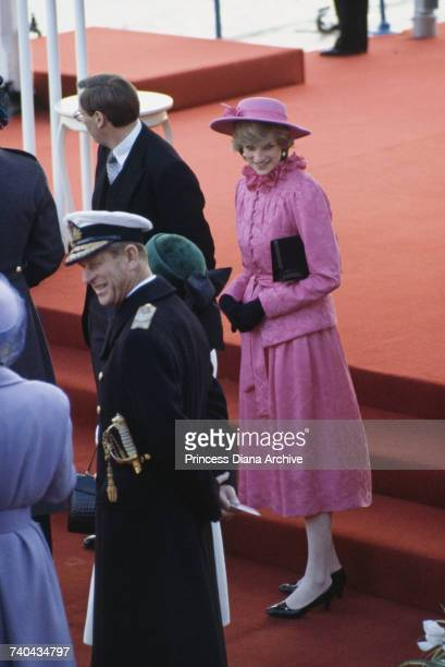 Prince Philip and Diana Princess of Wales at Westminster Pier ready to greet Queen Beatrix of the Netherlands as she arrives on her state visit...