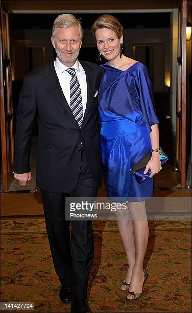 Prince Philip and Princess Mathilde of Belgium arrive at the Official Belgian Reception at the Sheraton Hotel of Hanoi hosted by Prince Philip and...