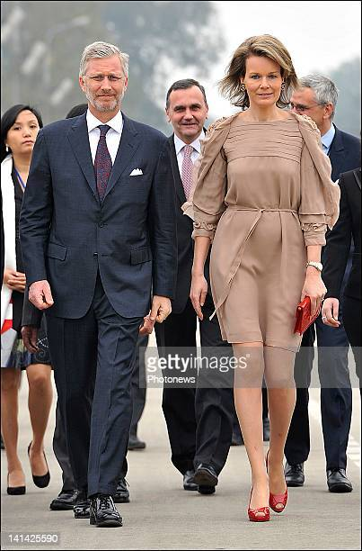 Prince Philip and Princess Mathilde of Belgium arriving at a ceremony at Ho Chi Minh Mausoleum on the official visit to Vietnam on March 122012 in...