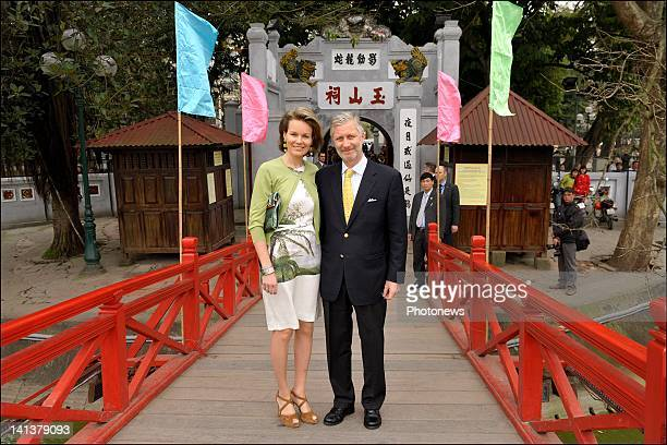 Prince Philip and Princess Mathilde of Belgium pose in front of a temple on day 1 of the official visit to Vietnam on March 11,2012 in Hanoi,Vietnam.