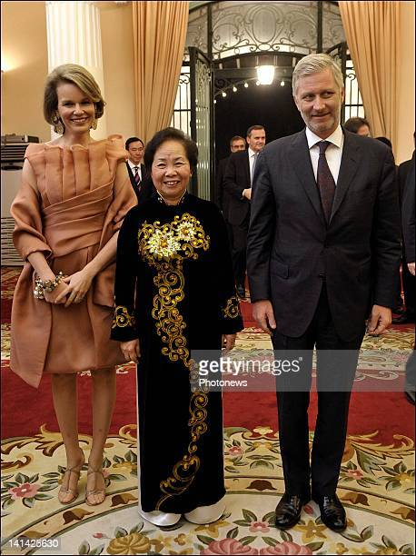Prince Philip and Princess Mathilde of Belgium pose with VicePresident of Vietnam Nguyen Thi Doan during their meeting at the Presidential Palace at...