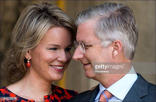 Prince Philip and Princess Mathilde pictured during their visit to the Topkapi Palace during the Belgian Economical Mission to Turkey on October 16...