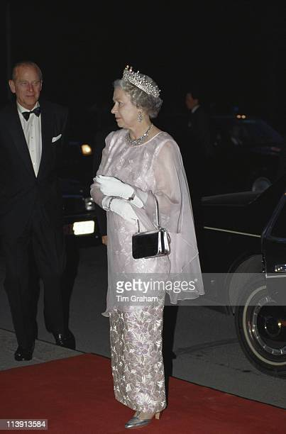 Prince Philip and Queen Elizabeth II on their arrival at the Hungarian State Opera House in Budapest during a threeday state visit to Hungary 4 May...