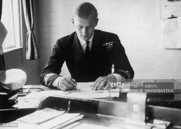 Prince Philip at the Petty Officers Training Centre at Corsham Wilts 1st August 1947