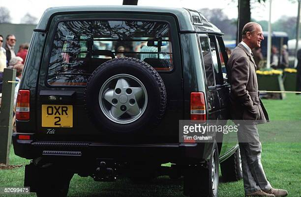 Prince Philip At The Windsor Horse Show Alongside His Landrover Discovery 4 Wheel Drive Vehicle