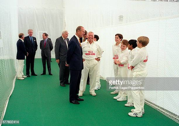 Prince Philip attends the opening ceremony of the new MCC indoor school at Lord's Cricket Ground London circa 1995