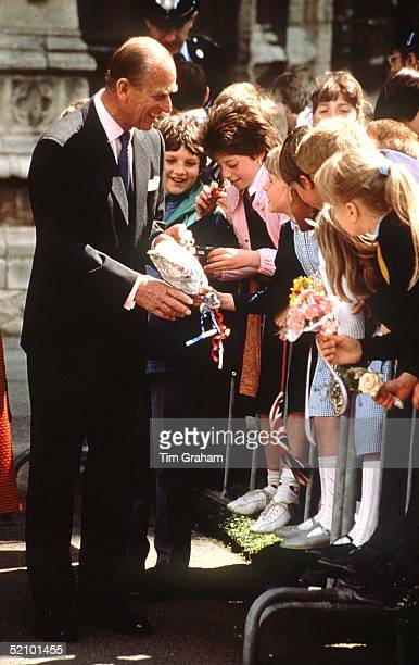 Prince Philip Chatting To Some Children During A Visit To Peterborough