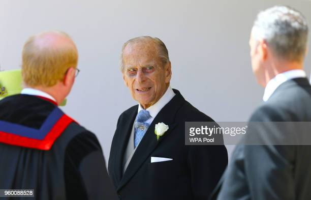 Prince Philip Duke of Ediburgh leaves St George's Chapel after the wedding of Prince Harry Duke of Sussex and The Duchess of Sussex at St Georges...