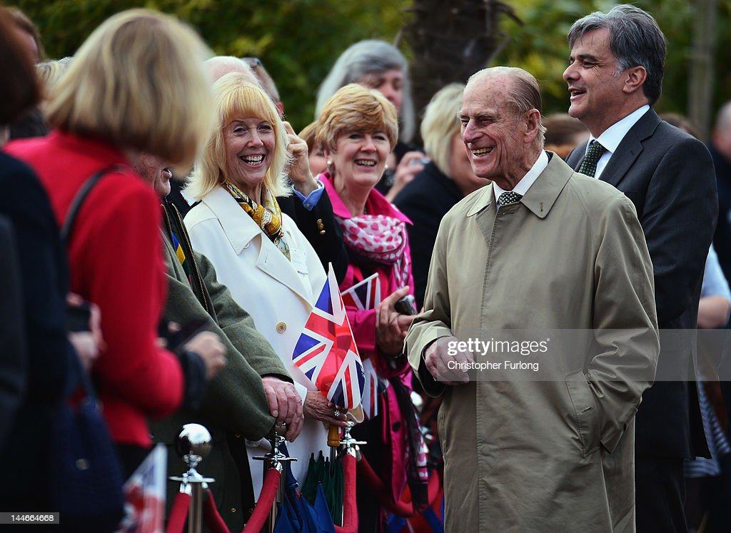 Prince Philip, Duke of Edinbugh, smiles as he chats to well wishers at Chester Zoo as part of a tour of the North West with the Queen on May 17, 2012 in Chester, England. The Queen is visiting many parts of Britain as she celebrates her Diamond Jubilee culminating with a four-day public holiday on June 2-5, including a pageant of 1,000 boats on the River Thames.