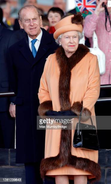 Prince Philip Duke of Edinburgh accompanies Queen Elizabeth II as she officially opens the new National Assembly for Wales Building , home of the...