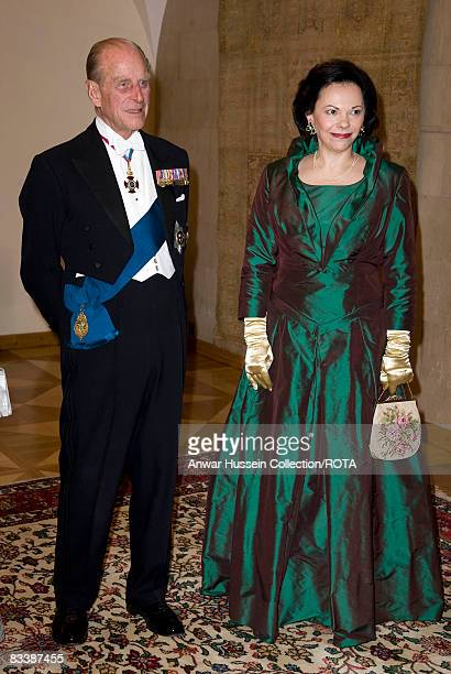 Prince Philip Duke of Edinburgh and Barbara Miklic Turk attend a State Banquet at Brdo Castle on the first day of a State Visit to Slovenia on...