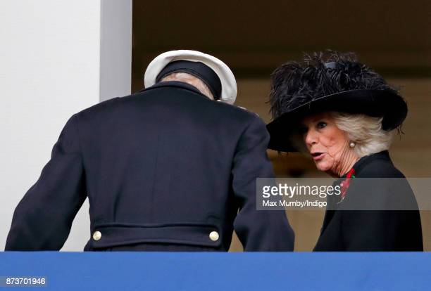 Prince Philip Duke of Edinburgh and Camilla Duchess of Cornwall attend the annual Remembrance Sunday Service at The Cenotaph on November 12 2017 in...
