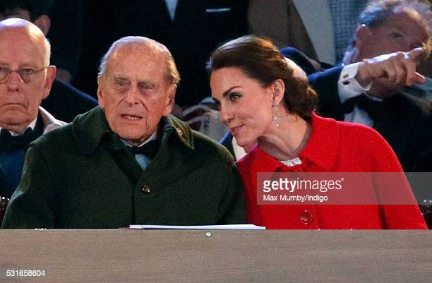 Prince Philip Duke of Edinburgh and Catherine Duchess of Cambridge attend the final night of The Queen's 90th Birthday Celebrations being held at the...