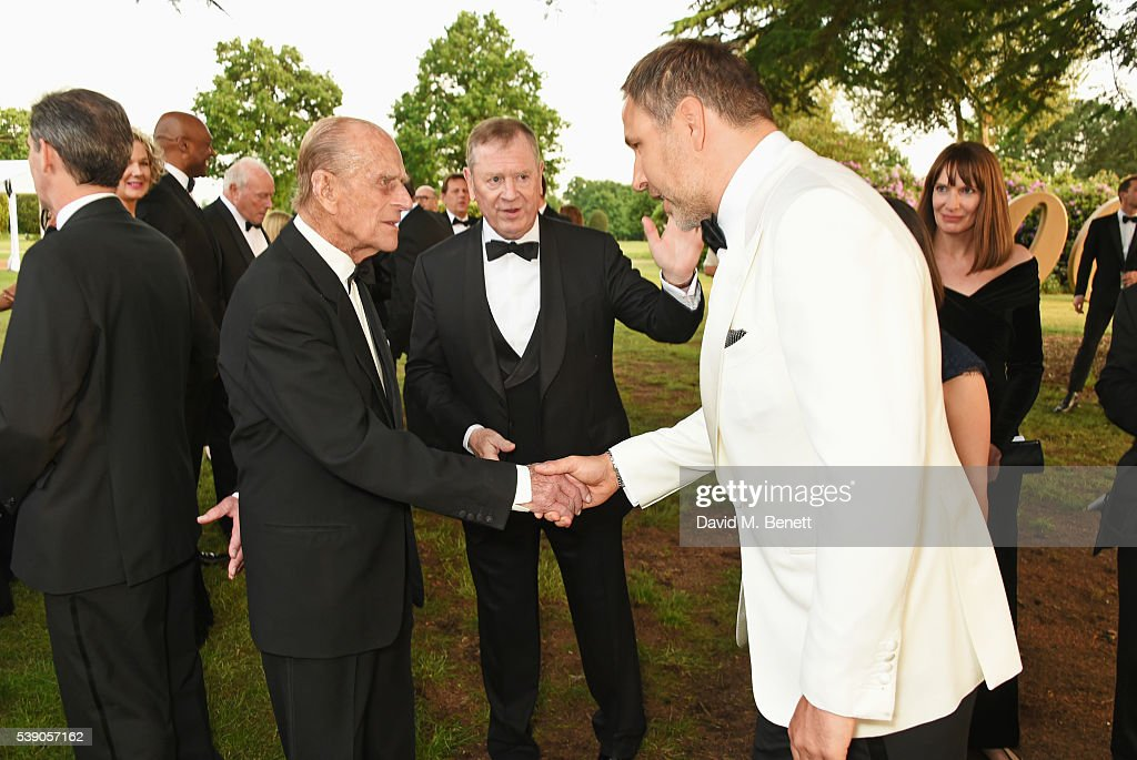 Prince Philip, Duke of Edinburgh, and David Walliams attend the Duke of Edinburgh Award 60th Anniversary Diamonds are Forever Gala at Stoke Park on June 9, 2016 in London, England.