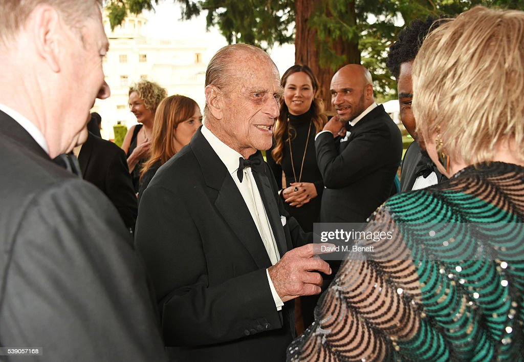 Prince Philip, Duke of Edinburgh, and Goldie attend the Duke of Edinburgh Award 60th Anniversary Diamonds are Forever Gala at Stoke Park on June 9, 2016 in London, England.