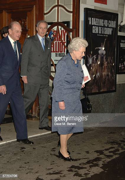 TRH Prince Philip Duke of Edinburgh and HM Queen Elizabeth II are seen leaving the Victoria Palace theatre after attending a show of Billy Elliot The...