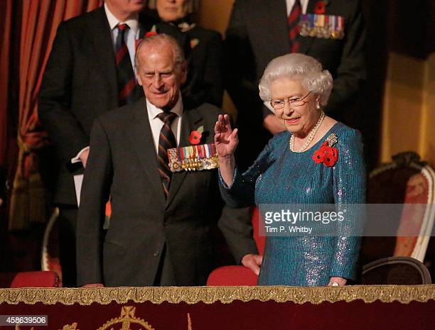 HRH Prince Philip Duke of Edinburgh and HM Queen Elizabeth II watch The Royal British Legion's Festival of Remembrance at Royal Albert Hall on...