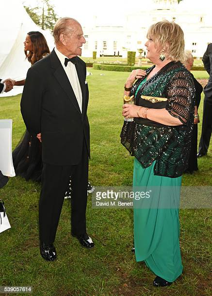 Prince Philip Duke of Edinburgh and Jenny Hanley attend the Duke of Edinburgh Award 60th Anniversary Diamonds are Forever Gala at Stoke Park on June...