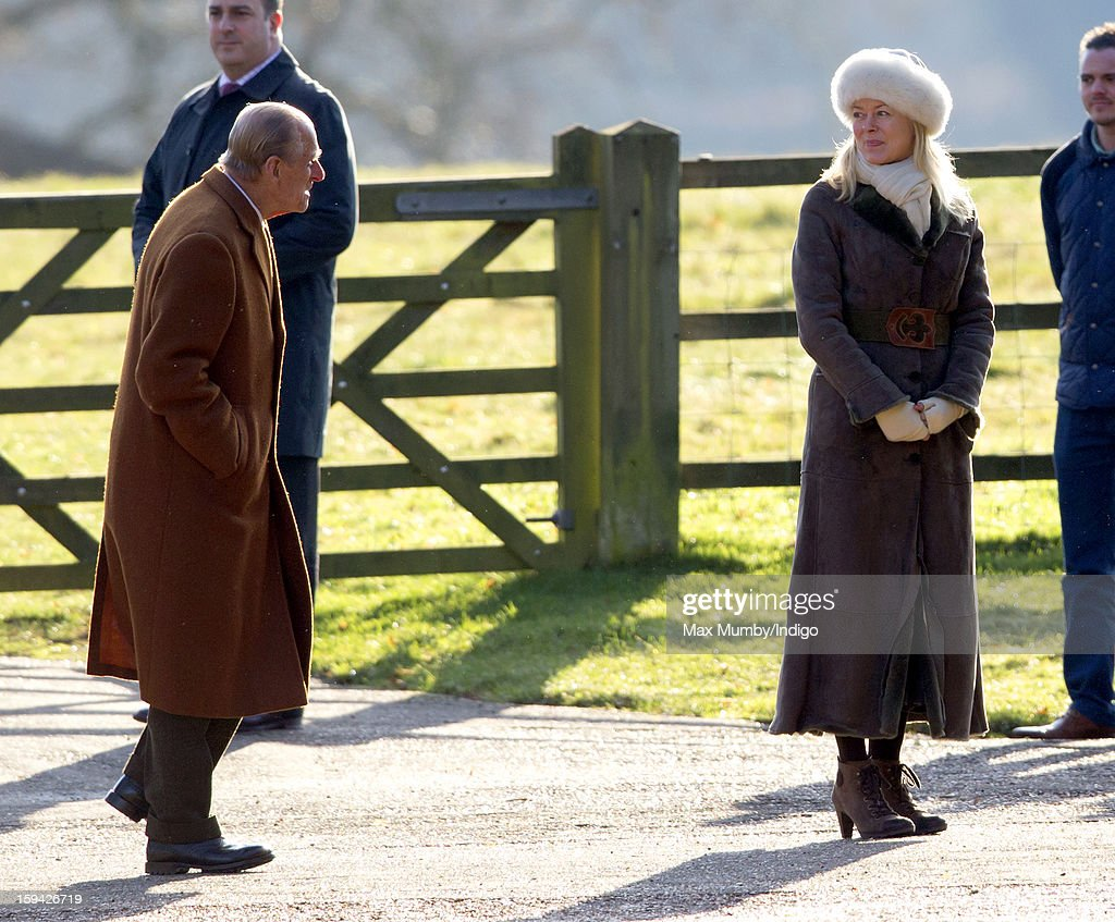 Prince Philip, Duke of Edinburgh and Lady Helen Taylor arrive at St. Mary Magdalene Church, Sandringham to attend Sunday service on January 13, 2012 near King's Lynn, England.