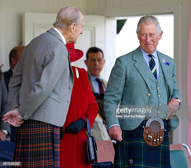 Prince Philip Duke of Edinburgh and Prince Charles Prince of Wales attend the Braemar Gathering at The Princess Royal and Duke of Fife Memorial Park...