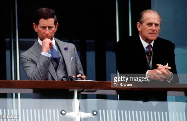 Prince Philip [duke Of Edinburgh] And Prince Charles [prince Of Wales] Together On The Balcony Watching The Racing At The Derby Held At Epsom In...