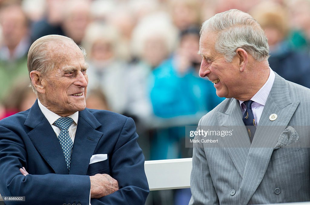 Prince Philip, Duke of Edinburgh and Prince Charles, Prince of Wales attend the unveiling of a statue of Queen Elizabeth The Queen Mother during a visit to Poundbury on October 27, 2016 in Poundbury, Dorset.