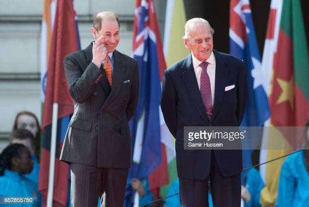 Prince Philip Duke of Edinburgh and Prince Edward and Earl of Wessex attend the launch of The Queen's Baton Relay for the XXI Commonwealth Games...