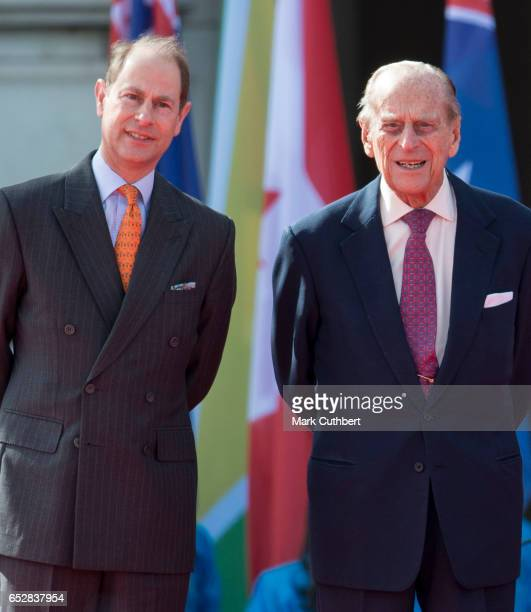 Prince Philip Duke of Edinburgh and Prince Edward Earl of Wessex during the launch of The Queen's Baton Relay for the XXI Commonwealth Games being...