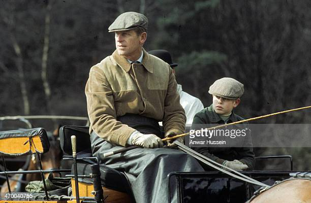 Prince Philip Duke of Edinburgh and Prince Edward go carriage driving up the Long Walk in Windsor Great Park on May 31 1977 in Windsor England