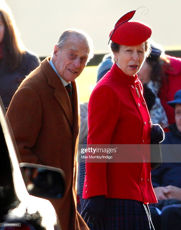 Prince Philip, Duke of Edinburgh and Princess Anne, The Princess Royal arrive at St. Mary Magdalene Church, Sandringham to attend Sunday service on December 29, 2013 near King's Lynn, England.