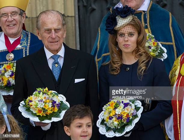 Prince Philip Duke of Edinburgh and Princess Beatrice of York attend the Royal Maundy Service at York Minster in York northern England April 5 2012...
