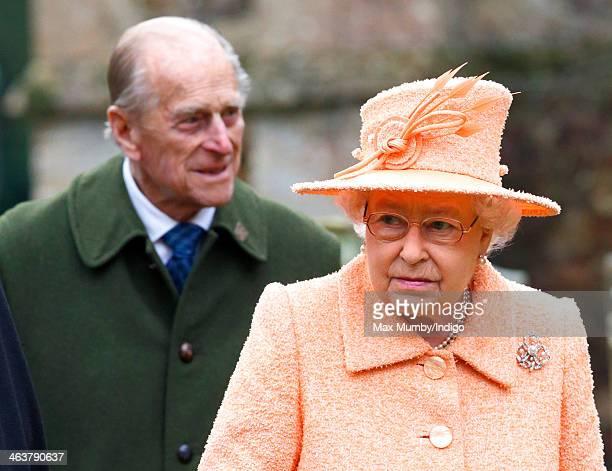 Prince Philip, Duke of Edinburgh and Queen Elizabeth II attend Sunday service at St Peter's church Wolferton, near Sandringham House on January 19,...