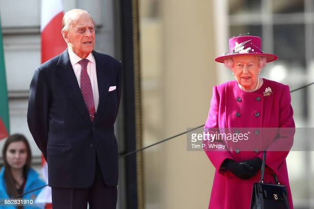Prince Philip Duke of Edinburgh and Queen Elizabeth II attend the launch of The Queen's Baton Relay for the XXI Commonwealth Games at Buckingham...