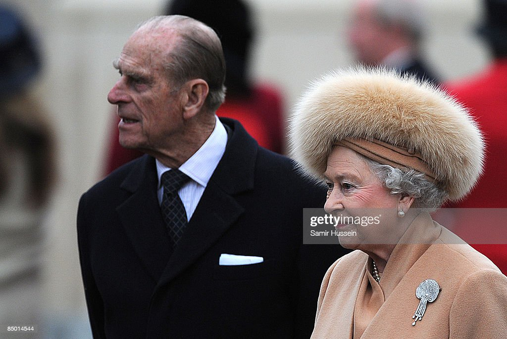 Prince Philip, Duke of Edinburgh and Queen Elizabeth II attend the unveiling of a memorial of Queen Elizabeth, The Queen Mother, on the Mall on February 24, 2009 in London, England.
