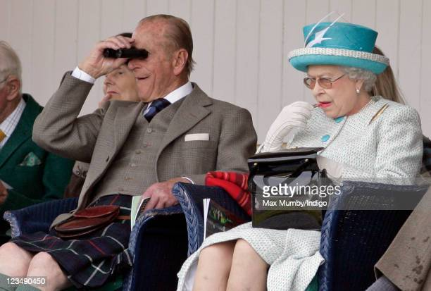 Prince Philip Duke of Edinburgh and Queen Elizabeth II attend the annual Braemar Gathering and Highland Games at The Princess Royal and Duke of Fife...