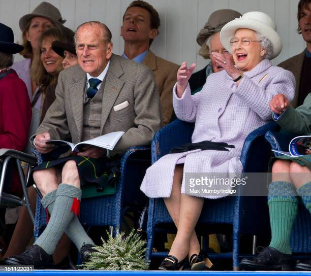 Prince Philip Duke of Edinburgh and Queen Elizabeth II attend the 2012 Braemar Highland Gathering at The Princess Royal Duke of Fife Memorial Park on...