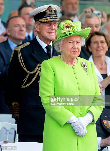 Prince Philip, Duke of Edinburgh and Queen Elizabeth II attend the International Ceremony at Sword Beach to commemorate the 70th anniversary of the...