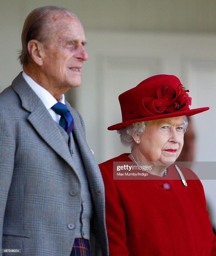Prince Philip, Duke of Edinburgh and Queen Elizabeth II attend the Braemar Gathering at The Princess Royal and Duke of Fife Memorial Park on September 5, 2015 in Braemar, Scotland. There has been an annual gathering at Braemar, in the heart of the Cairngorms National Park, for over 900 years. The current gathering, in the form of a Highland Games and run by the Braemar Royal Highland Society (BRHS), takes place on the first Saturday in September and sees competitors in Running, Heavy Weights, Solo Piping, Light Field and Solo Dance watched by around 16000 spectators. This year the BRHS commemorate their bi-centenary. Members of the Royal family often attend the event and Her Majesty the Queen is Chieftain of the Braemar Gathering.