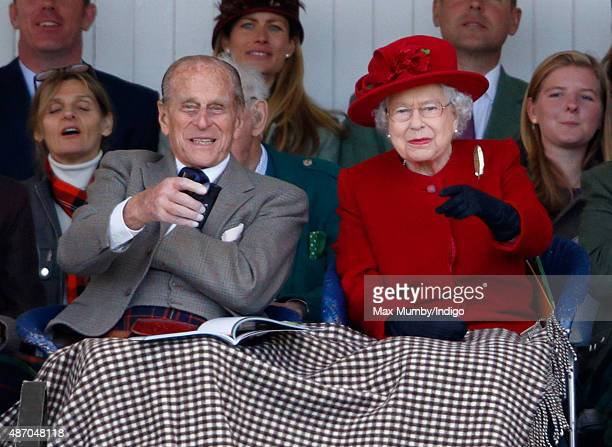 Prince Philip, Duke of Edinburgh and Queen Elizabeth II attend the Braemar Gathering at The Princess Royal and Duke of Fife Memorial Park on...