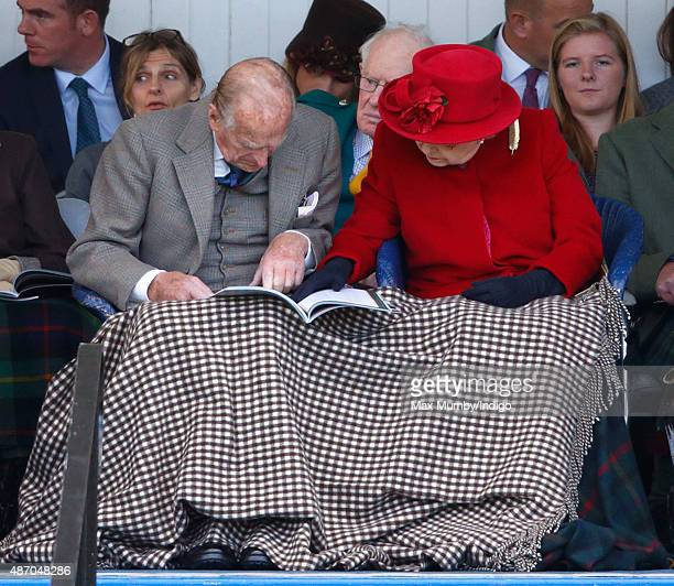 Prince Philip Duke of Edinburgh and Queen Elizabeth II attend the Braemar Gathering at The Princess Royal and Duke of Fife Memorial Park on September...