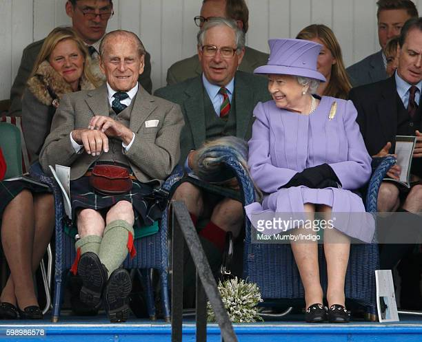 Prince Philip Duke of Edinburgh and Queen Elizabeth II attend the 2016 Braemar Highland Gathering at The Princess Royal and Duke of Fife Memorial...