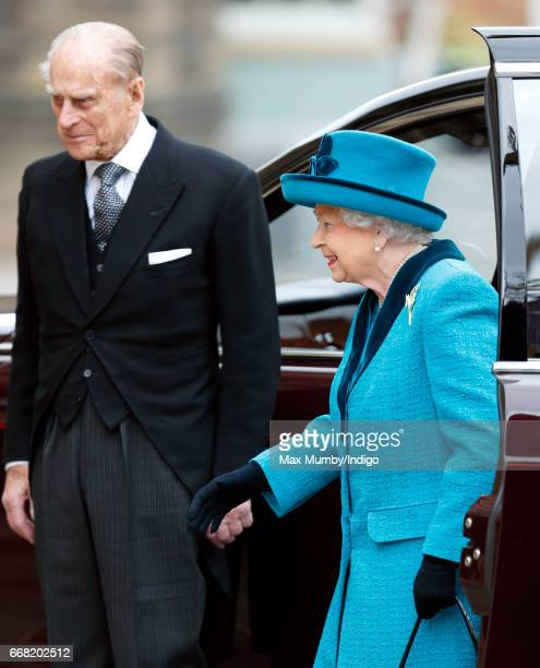 Prince Philip Duke of Edinburgh and Queen Elizabeth II attend the traditional Royal Maundy service at Leicester Cathedral on April 13 2017 in...