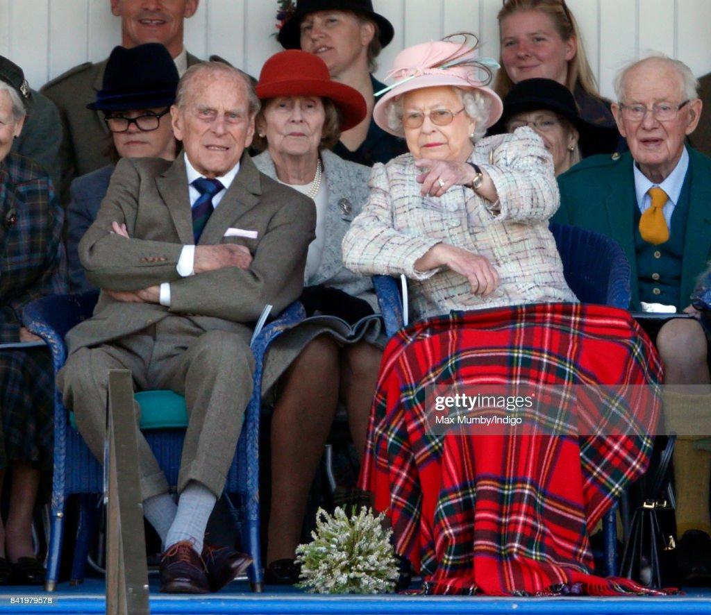 Prince Philip, Duke of Edinburgh and Queen Elizabeth II attend the 2017 Braemar Gathering at The Princess Royal and Duke of Fife Memorial Park on September 2, 2017 in Braemar, Scotland.