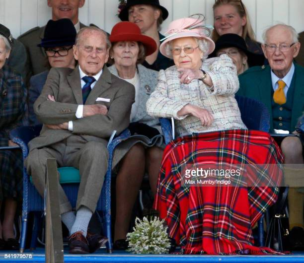 Prince Philip Duke of Edinburgh and Queen Elizabeth II attend the 2017 Braemar Gathering at The Princess Royal and Duke of Fife Memorial Park on...