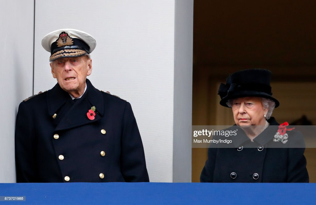 Prince Philip, Duke of Edinburgh and Queen Elizabeth II attend the annual Remembrance Sunday Service at The Cenotaph on November 12, 2017 in London, England. This year marks the first time that Queen Elizabeth II watched the service from a balcony rather than lay her own wreath, instead Prince Charles, Prince of Wales laid her wreath on her behalf.