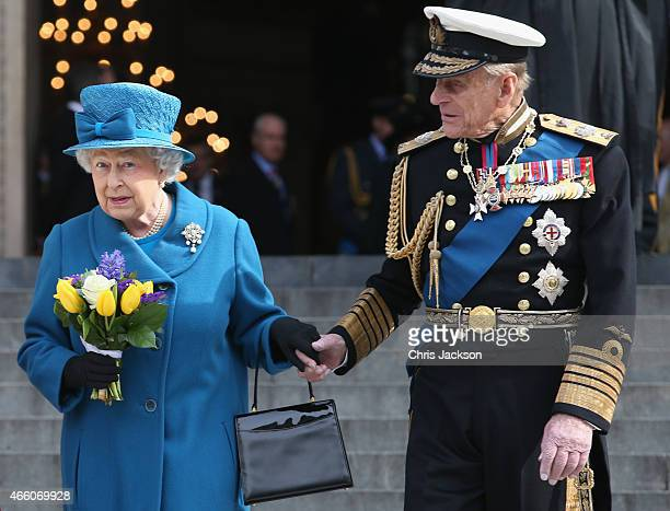 Prince Philip Duke of Edinburgh and Queen Elizabeth II depart a Service of Commemoration for troops who were stationed in Afghanistan on March 13...