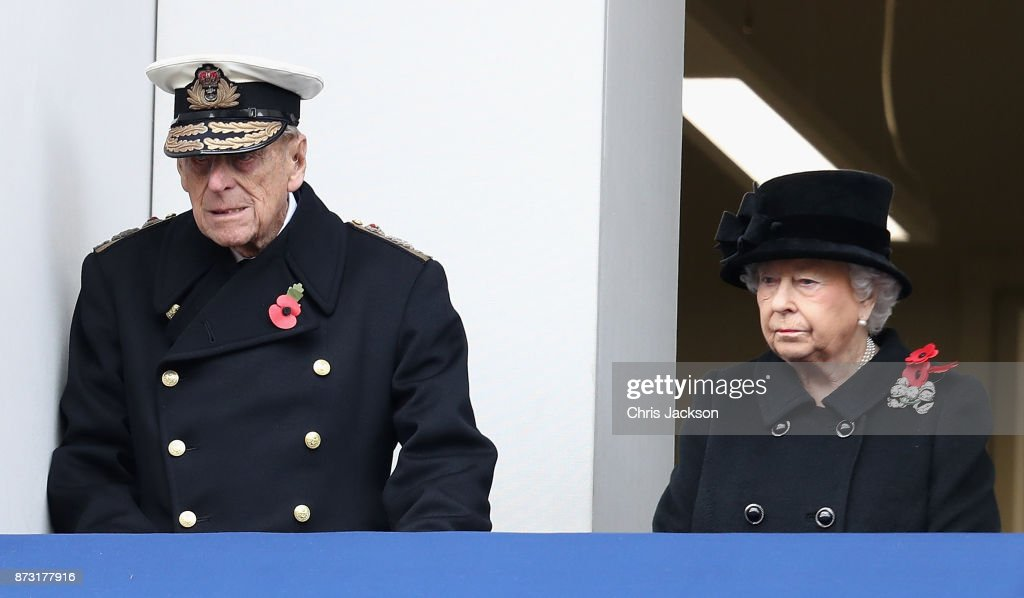 Prince Philip, Duke of Edinburgh and Queen Elizabeth II during the annual Remembrance Sunday memorial on November 12, 2017 in London, England. The Prince of Wales, senior politicians, including the British Prime Minister and representatives from the armed forces pay tribute to those who have suffered or died at war.