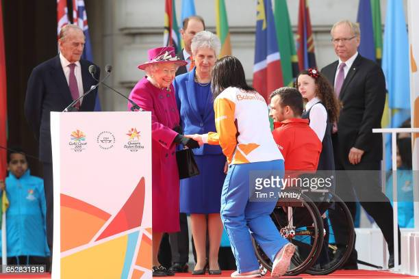 Prince Philip Duke of Edinburgh and Queen Elizabeth II greets Anna Meares during the launch of The Queen's Baton Relay for the XXI Commonwealth Games...