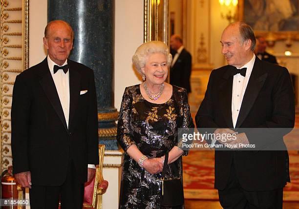 Prince Philip Duke of Edinburgh and Queen Elizabeth II host a dinner at Buckingham Palace to mark the Golden Jubilee of SAS Prince Karim Aga Khan IV...