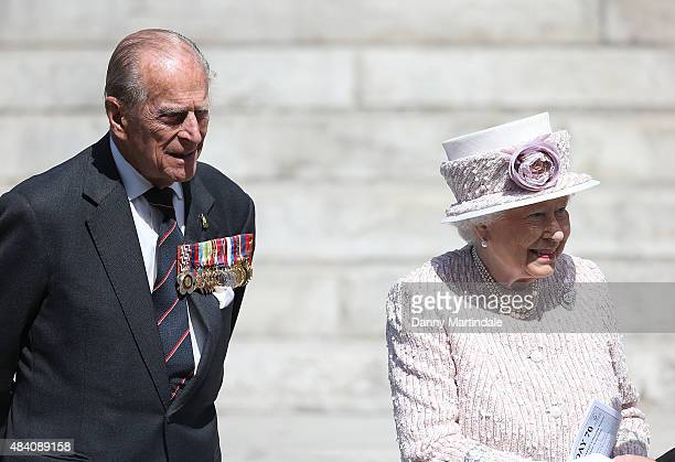 Prince Philip Duke of Edinburgh and Queen Elizabeth II leave the 70th anniversary of VJ Day service of commemoration at St MartinintheFields on...